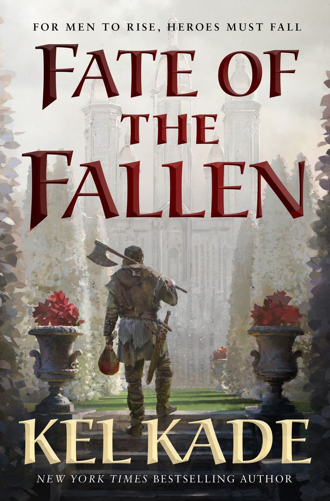 fate of the fallen book cover featuring a man with an axe standing between two hedges