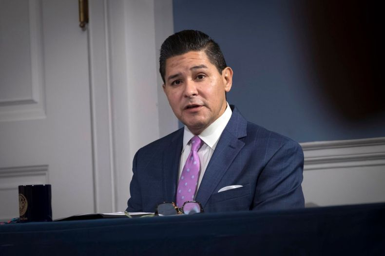 Department of Education Chancellor Richard Carranza speaks at a City Hall press conference ahead of schools reopening, Sept. 17, 2020.