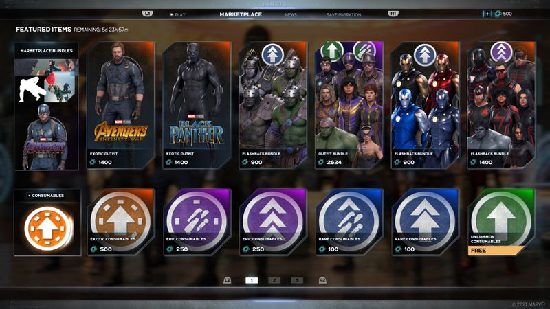 A screenshot of the Marketplace menu in Marvel's Avengers