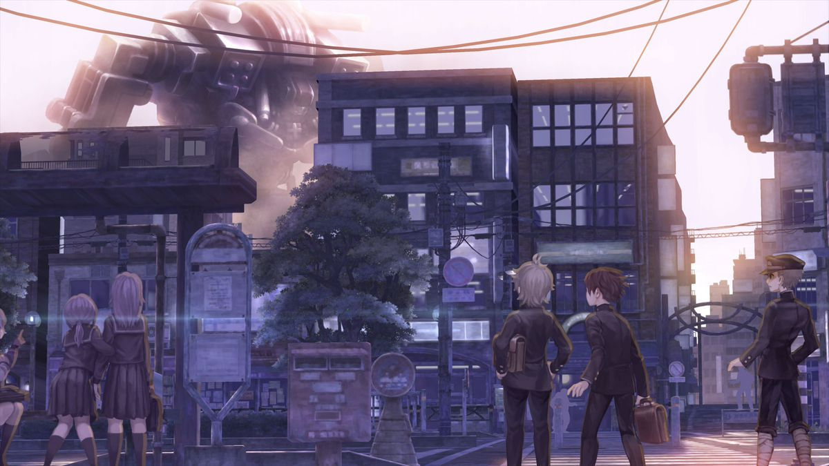 a bunch of young people stare at a mech off in the distance in 13 Sentinels: Aegis Rim