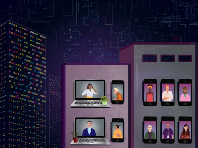 A stylized illustration showing tall buildings at night — but instead of windows, there are phones and laptops displaying people talking to each other.
