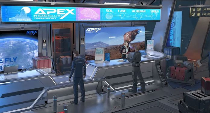 A player stands at a ticket counter, baggage strewn about.