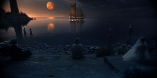 An uncanny magical-realm vista in Lisey's Story, with a blood moon, a distant ship on the horizon, and a jumbled rock beach