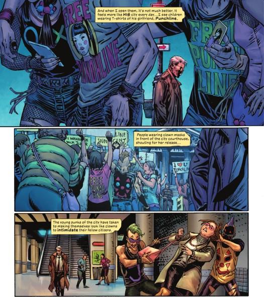 James Gordon walks through Gotham's subways, noticing various teenagers dressed in Joker and Punchline memorabilia, in The Joker #1, DC Comics (2021).
