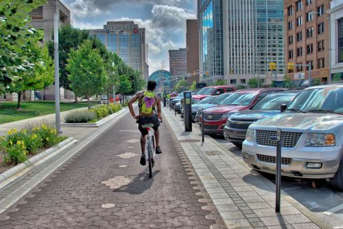 Biker on the Cultural Train in Indianapolis