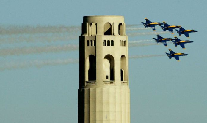 US Navy Blue Angles Practice For Fleet Week Air Show In San Francisco