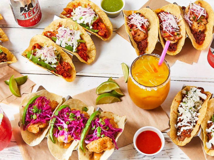 Various tacos and drinks from Buena Onda