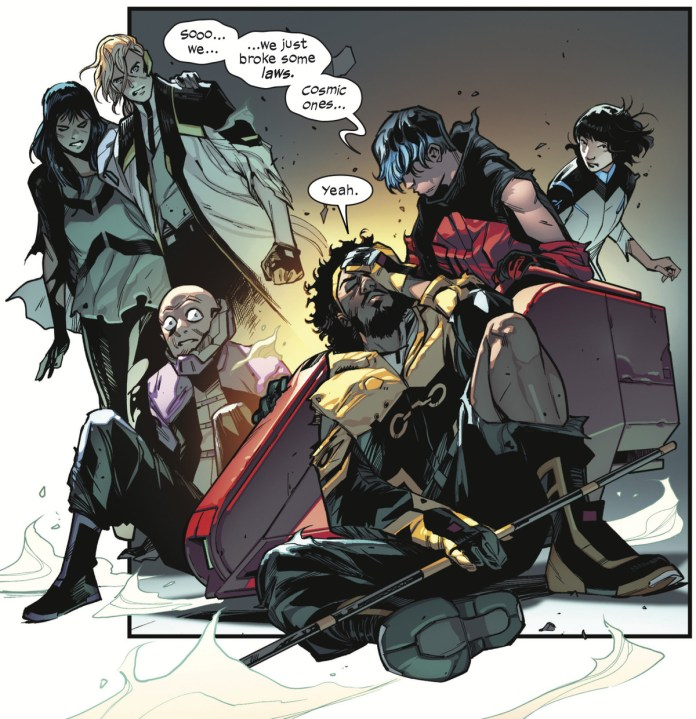 """(LtR) Risque, Fabian Cortez, Peeper, Manifold, Wiz-Kid, and Armor collapse. """"Sooo... we... ...we just broke some laws. Cosmic ones..."""" groans Wiz-Kid. """"Yeah,"""" grouses Manifold, in SWORD #1, Marvel Comics (2020)."""