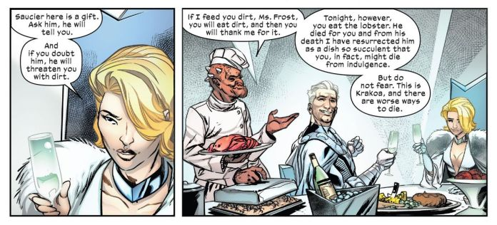 Emma Frost introduces Magneto to her new mutant chef, who has prepared lobster for their meal, in Giant-Size X-Men: Magneto, Marvel Comics (2020).