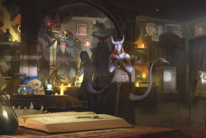 A player character stands in a room filled with magical curious, a spirit haunting them in the mirror.