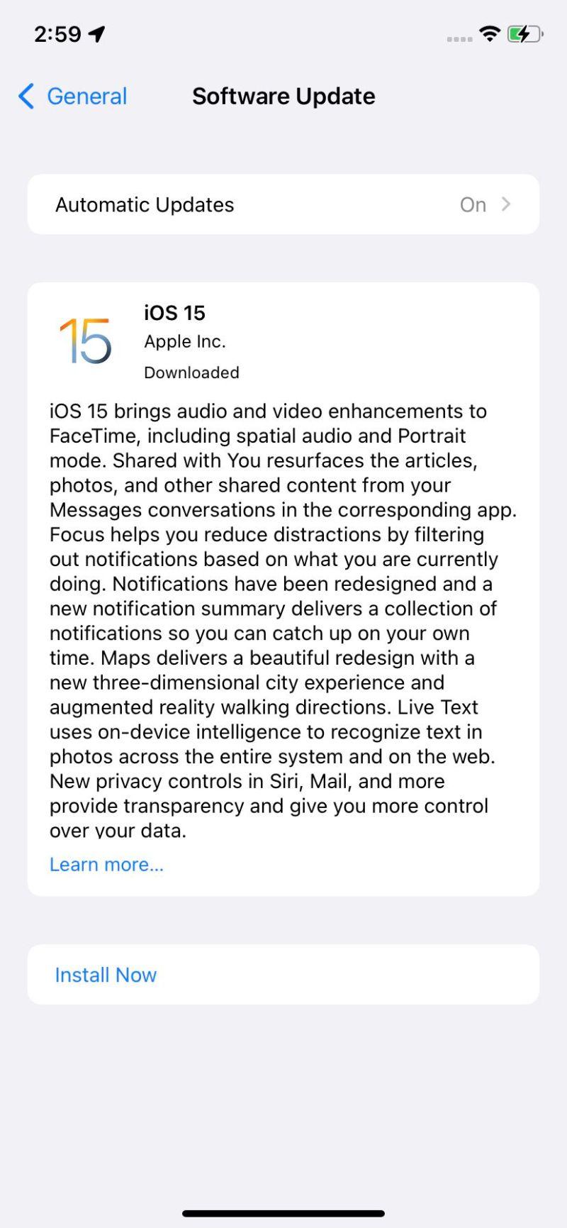 Il tuo aggiornamento a iOS 15 potrebbe aspettarti.