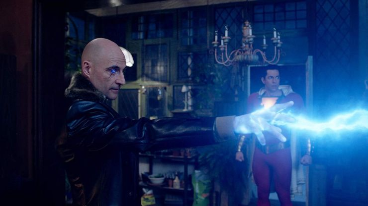 Mark Strong and Zachary Levi in Shazam