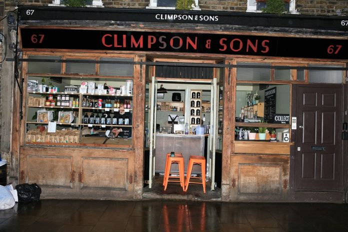 Climpson's and Sons Cafe on Broadway Market, open but preparing to close late in the day on day one of the coronavirus lockdown in London