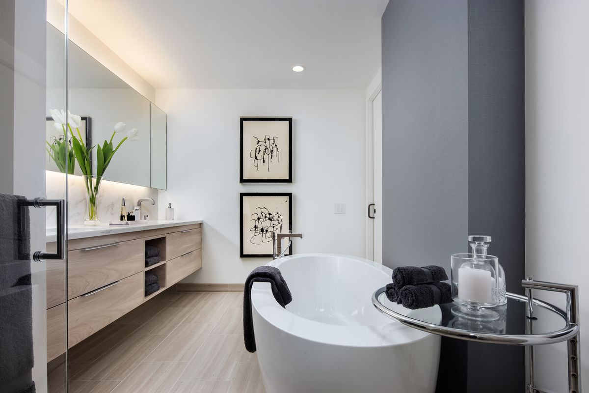 Peek inside the luxury apartment tower that offers on-site ... on Apartment Bathroom  id=19058