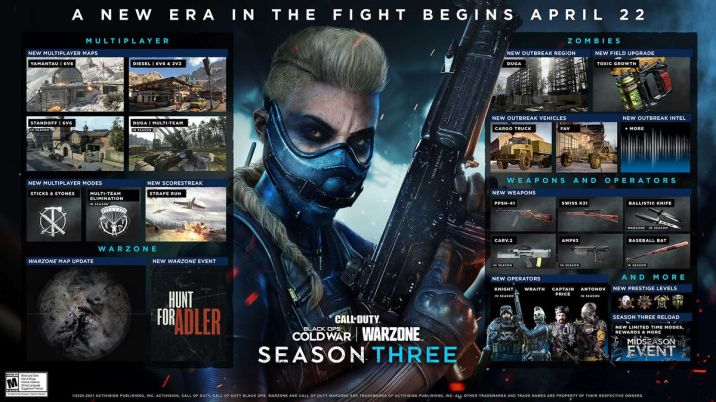 The content plan roadmap for Call of Duty: Black Ops Cold War and Warzone season 3