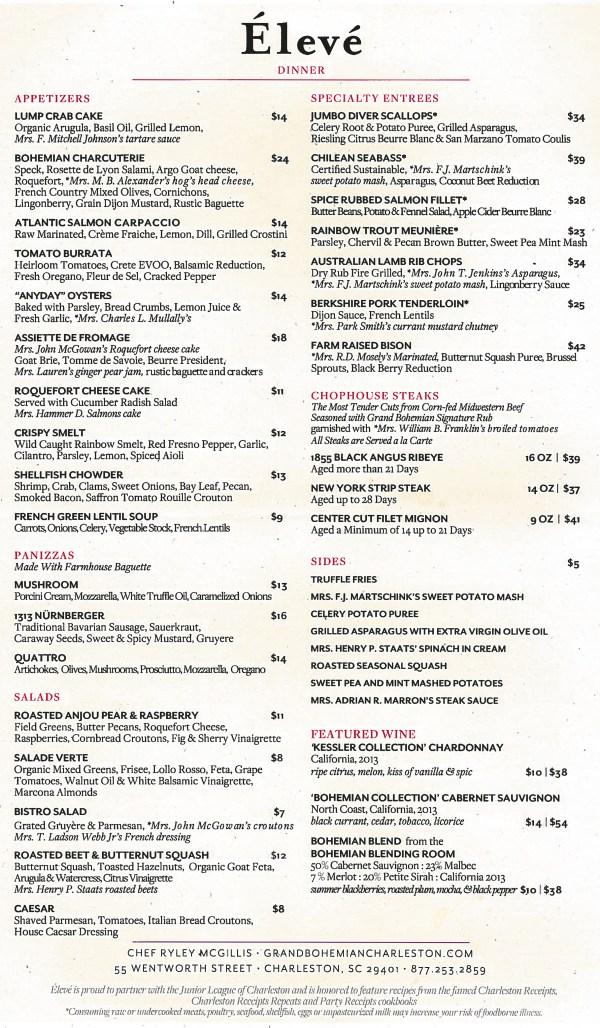 Élevé Dinner Menu Full of Seafood, Steaks, and 'Charleston ...