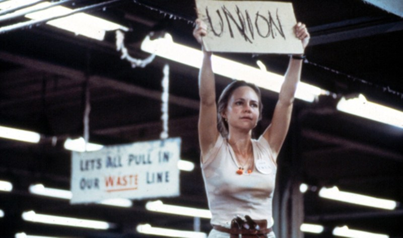 """Norma Rae screencap of Sally Fields holding a """"UNION"""" sign"""