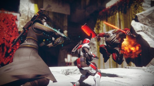 Destiny 2 - two Guardians fighting Cabal in The Inverted Spire, a strike
