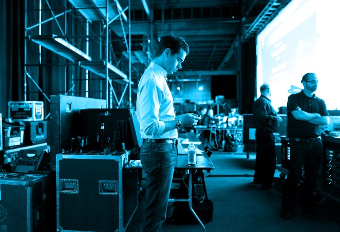 Jack Dorsey waits backstage at TechCrunch Disrupt SF 2012
