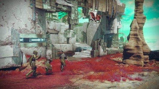 Destiny 2 - three Guardians on Distant Shore map