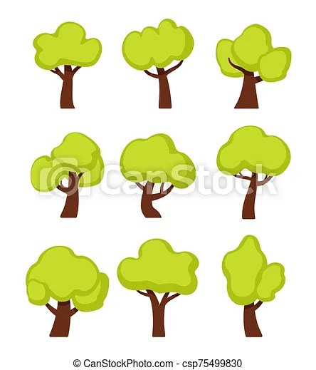 63047 bushes clip art images on gograph. Green Forest Trees Cartoon Vector Illustrations Set Woodland Plants Cliparts Isolated On White Background Simple Oaks Flat Canstock