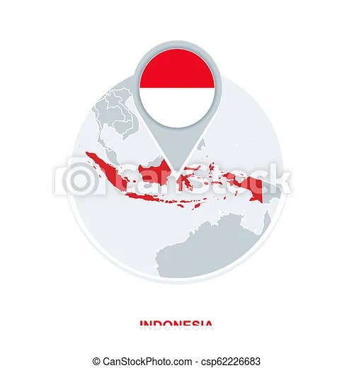 Cdr png hd peta indonesia vector high resolution transparent png to. Indonesia Map And Flag Vector Map Icon With Highlighted Indonesia Canstock