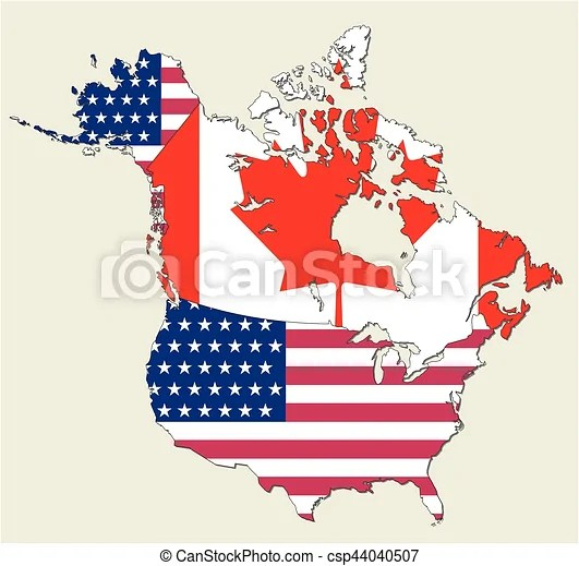 Terrain, it displays a physical map with topographical details. Map Of The States Of Canada And Usa Represented As Flag Canstock