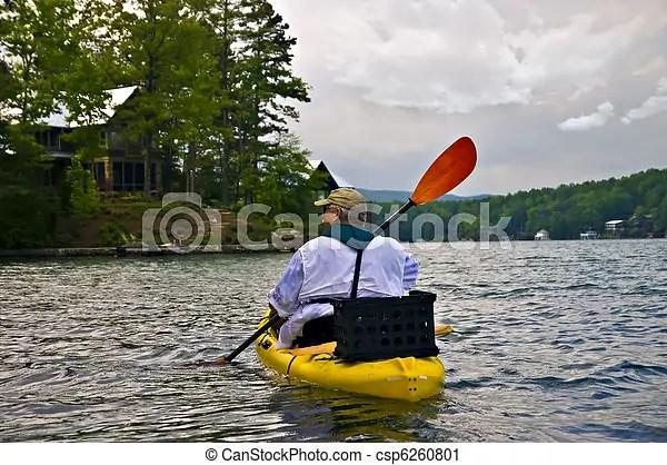 Каяк, озеро, человек. Декорации, lake., enjoying, каякинг ...