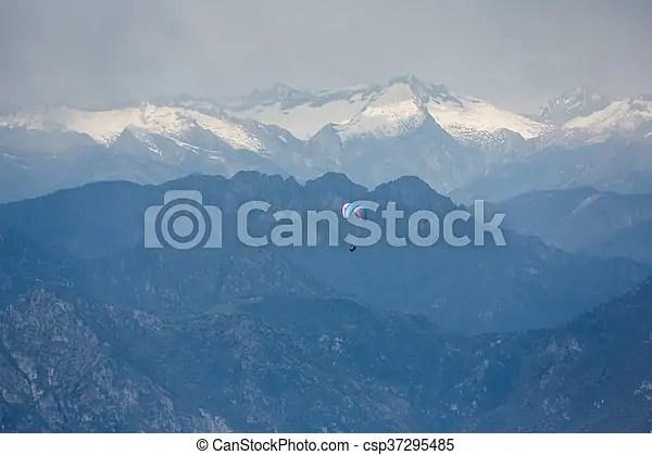 Paraglider, dolomites. Mountains, над, летающий, озеро ...