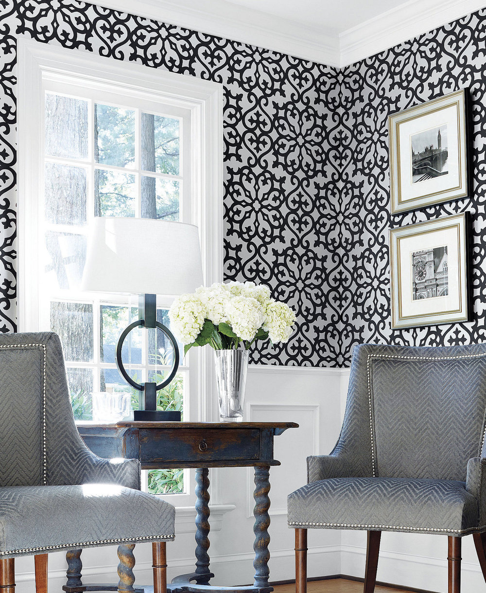 Allison Black By Thibaut Wallpaper Direct
