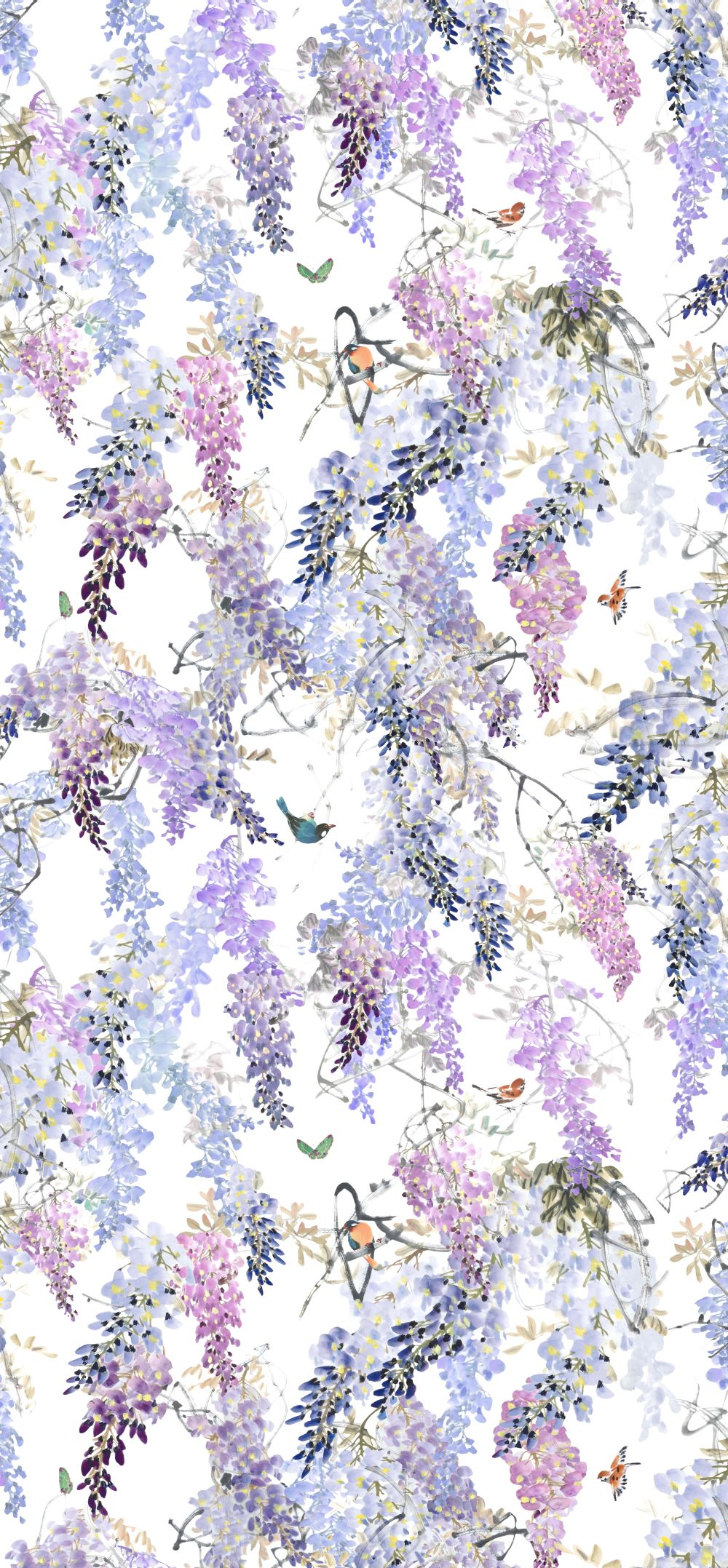 Wisteria Falls Panel A By Sanderson Lilac Wallpaper Direct