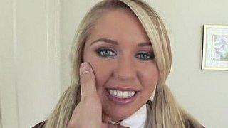 Blonde, grey eyed schoolgirl fucking in her uniform thumb
