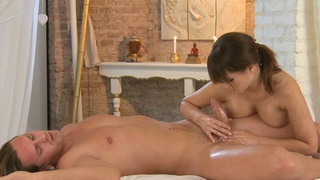 Busty brunette cutie massages and hard fucks big cock of hot dude thumb