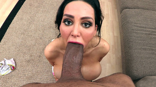 Amy Anderssen got down on her knees to suck his enormous black cock thumb
