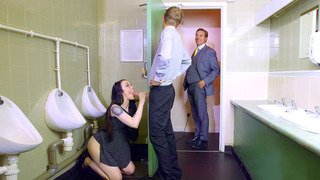 Alessa Savage almost caught by Danny's boss while sucking his rod thumb