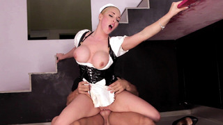 British maid Victoria Summers rides the schlong reverse cowgirl style thumb