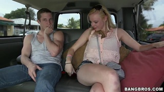 Cute girl Sunny Marie is seduced for fuck by her two boyfriends in their car; she showed them boobs and got fucked. thumb