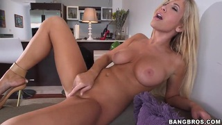 Glamour blonde chick Tasha Reign got on couch totally naked and spreading legs to masturbate her shaved_twat. thumb
