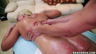 Leya Falcon sucks dick after intimate massage thumb