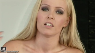Blonde bitch Sophie Moone plays with twat thumb