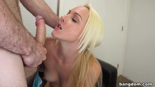 Blonde shoots her first porno and gets a... thumb