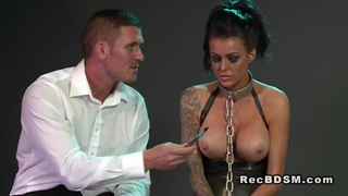 Chained busty sub banged_on the floor in dungeon thumb