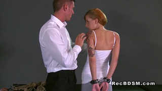 Handcuffed redhead sub gets fucked from behind thumb