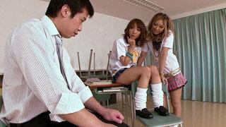 Schoolgirls Double Team The Teacher thumb