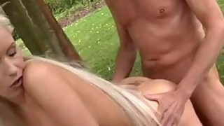 Paul is liking his breakfast in the garden with his fresh girlfriend. thumb
