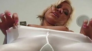 Solo girl fingers pussy through taut pantyhose thumb