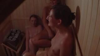 Hidden Cam Catches 3 Girls in Sauna thumb