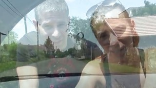 Teen hitchhiker Hanna Sweet and her lover have sex for a free ride thumb