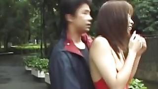 Big boobed Japanese hottie walks in lingerie thru the park thumb
