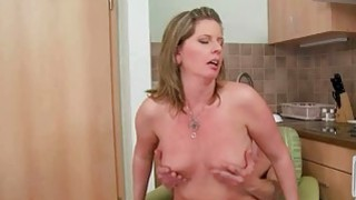 Grandma gives blowjob and gets fucked in kitchen thumb